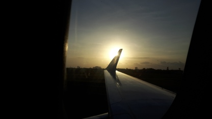 sunset over airport